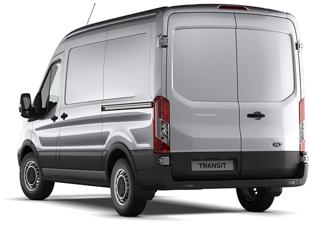Transit Van Base L2 H2 Moondust Silver Rear